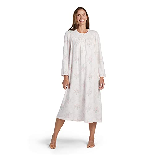 Miss Elaine Nightgown - Women's Nightgown Long, Printed Honeycomb Knit Gown with Long Sleeves and Round Neckline, Womens Sleepwear and Loungewear (Large, Pink Floral On Lt Pink)