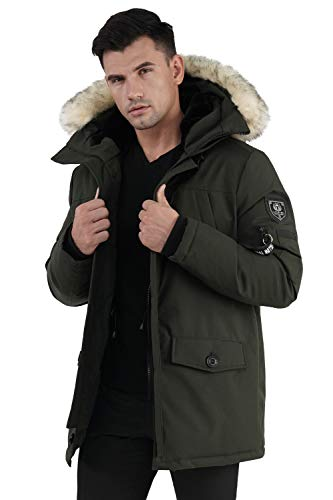 Molemsx Men Winter Coat, Down Coat with Fur Hood Classic Club Padded Jacket for Cold Weather Men's Warm Parka Puffer Jacket Winter Down Jacket with Hood Faux-Fur Trim Khaki Large