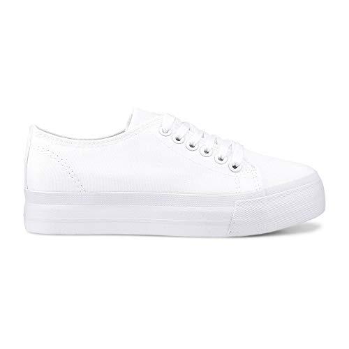 Another A Damen Canvas-Sneaker aus Textil, Schnürschuhe in Weiß mit breiter Plateausohle Weiß Textil 37