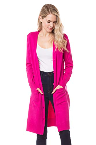 Lotiful Women's Maxi Long Button Up Lightweight Duster Pocket Cardigan Sweater (S-XL) (Small, Hot Pink)