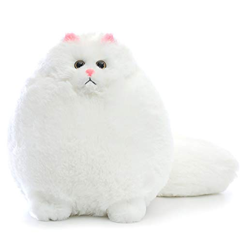 Winsterch Cuddly Cat Soft Stuffed Animal Toy, Plush Cat Teddy for Kids Birthday Gifts Cute Cat Toy (White, 30 cm)