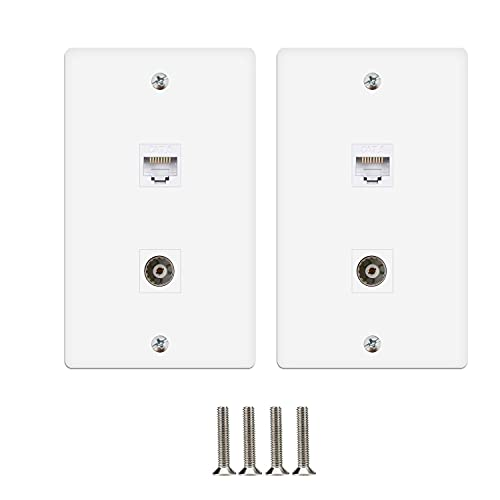 MOAVEQ Ethernet Wall Plates with CAT6 and BNC Keystone Insert (2Pack, CAT6+BNC)