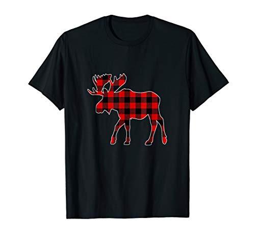 Moose Red Buffalo Plaid Matching Pajama Family Gift T-Shirt
