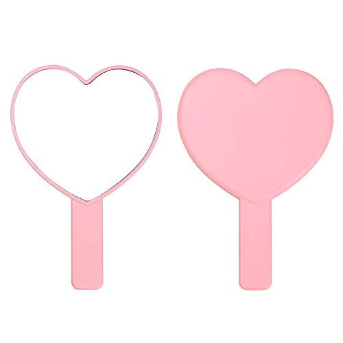 TBWHL Heart-Shaped Travel Handheld Mirror, Cosmetic Hand Mirror with Handle Pink
