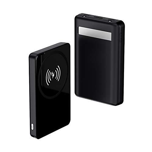 Batería Externa Inalámbrica Magnético 8000Mah con Soporte Portátil, para Iphone 12 Pro Max 12 Mini, 10W Wireless Power Bank Qi Cargador Portátil Carga Rápida (negro)