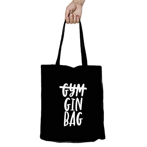 Personalisierbare Einkaufstasche, lustig, wiederverwendbar, Baumwollleinen-Kunst-Tasche – Erstellen Sie Ihr eigenes Zitat, Gin-Beutel., Schwarz , 42 cm x 38 cm