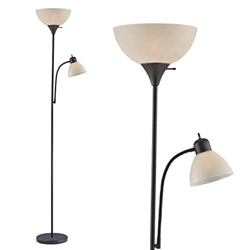 """Adjustable Floor Lamp with Reading Light by Light Accents - Susan Modern Standing Lamp for Living Room/Office Lamp 72"""" Tall - 150-watt with Side Reading Light - Stand Up Tall Light - Corner Lamp (B"""