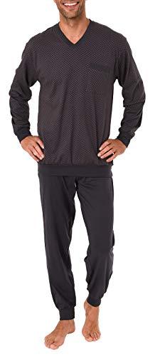Normann Herren Pyjama Schlafanzug lang mit Bündchen - auch in Übergrössen bis Gr. 70-191 101 90 518, Größe2:56, Farbe:dunkelgrau