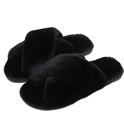 Fadezar Pantofole Peluche Donna Ciabatte da Casa Comode Invernali Moda Scarpe Sandali Slippers Nero Dimensione dell'Etichetta 36/37 für EU 35/36