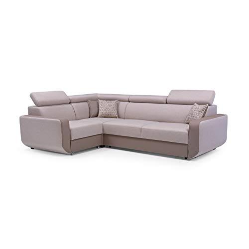 MOEBLO Ecksofa mit Schlaffunktion Eckcouch mit Bettkasten Sofa Couch L-Form Polsterecke Celine (Cappuccino, Ecksofa Links)