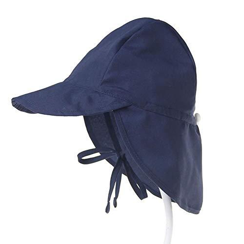 Cosanter Baby Sonnenhut Mit Nackenschutz Quick Drying Schirmmütze Outdoor Reise UV-Schutz Sommermütze Mit Kinnriemen 48-54cm Navy Blau