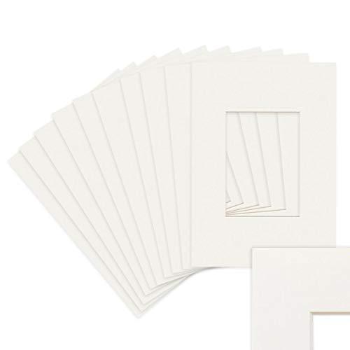 Photolini 25 Unidades de Papel paspartú en Color Blanco 15x20 cm (10x15 cm)