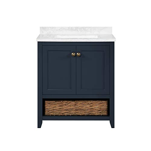 Martha Stewart Granary 30 Vanity from Lily Pond Collection, in Midnight Blue finish (Large Bathroom Vanity)