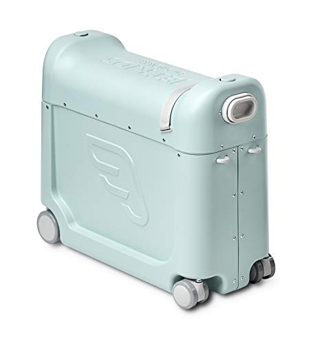 JetKids BedBox de STOKKE - Maleta infantil de cabina con cama de viaje│Trolley con asiento de 4 ruedas para niños│Colour: Green Aurora