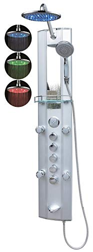 Duschpaneel Wanneneinlauf mit Thermostat Silber Led Regendusche mit 5 Massagedüsen Duschbrause Eckmontage und Wandmontage