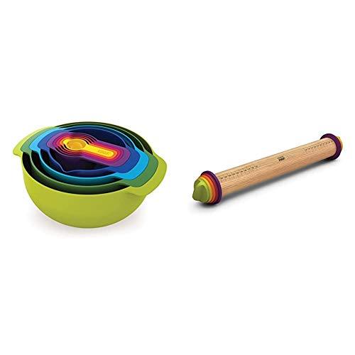 Joseph Joseph Nest 9 Plus - 9-teiliges Speisevorbereitungs-Set - mehrfarbig & Einstellbares Nudelholz, 9 Einheiten - mehrfarbig