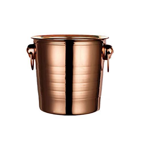 HWhome 5L Cubo De Hielo Portátil De Acero Inoxidable, Vino Champán Barril Refrigerado, Aislamiento Multifuncional, Cubeta De Hielo Refrigerante (Color : Rose Gold)