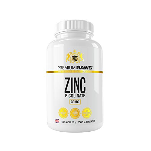 Zinc Picolinate 30mg - 60 Vegetarian Capsules Highly Absorbable Zinc Supplements for Immune Support, Hair and Skin & Reproductive Health. for Men & Women.