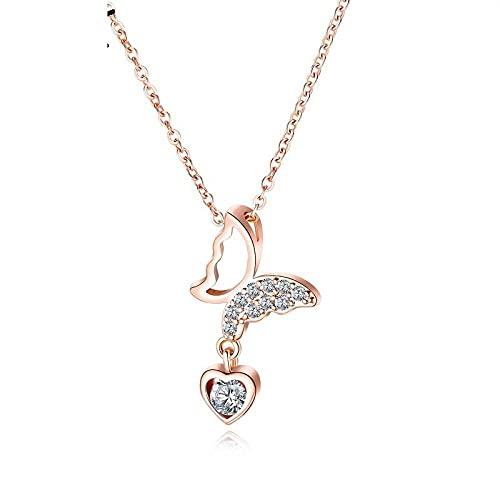 Collar Moda Chapado en oro rosa Cadena de clavícula Colgante Collar de diamantes de amor de mariposa hueca simple