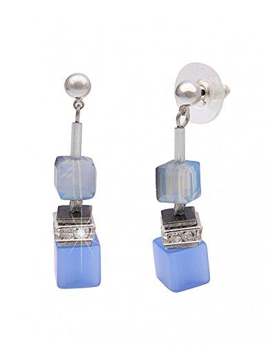 Leslii Damenohrringe lange Ohrringe Ohrstecker Statement Glitzer Würfel Polaris Strass Modeschmuck hängend 4cm in Silber Blau