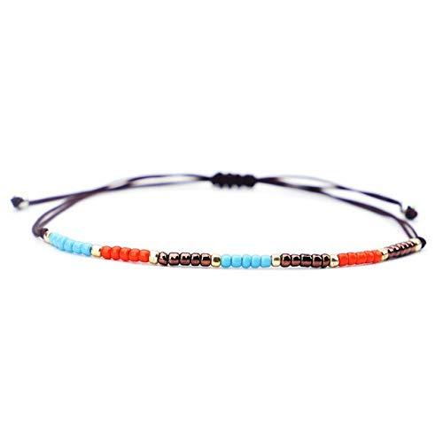 HUAI Pulsera tejida hecha a mano con cuentas de amor de la suerte, brazaletes para mujeres y hombres, pulseras de hilo de cera (color de metal: RB272)
