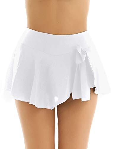 Agoky Damen Rock Super Kurz Chiffon Minirock Ballett Tanzrock mit Sicherheits Shorts Gymnastik Sport Tanzkleidung Weiß S