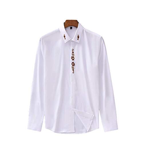Camisa Bordada con Simplicidad para Hombre, Manga Larga, Moda, Corte Ajustado, Tendencia, Camisas básicas de Trabajo de Oficina, Todo fósforo L