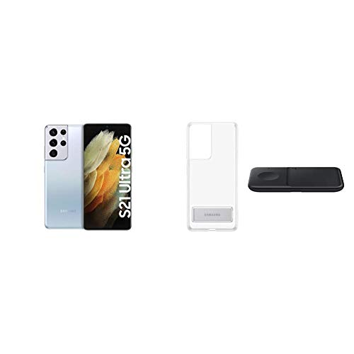 Samsung Galaxy S21 Ultra 5G, Quad-Kamera, Infinity-O Display, 128 GB Speicher, leistungsstarker Akku, Phantom Silver S21 Ultra Clear Standing Cover transparent inkl. Wireless Charger Pad P1300