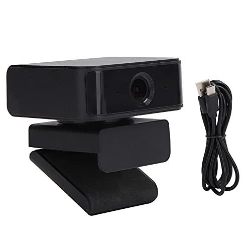 360°回転カメラ、ビデオチャット用のビデオ会議用のオンラインコース用のライブストリーミング用のプラグアンドプレイブラックUSBカメラ
