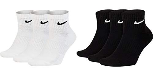 Nike Socken Damen Herren Weiß Schwarz Kurz Sportsocken Größe 34 36 38 40 42 44 46 48 50 Sparset SX7677, Sockengröße:42-46, Sockenfarbe:3 Paar weiss 3 Paar schwarz