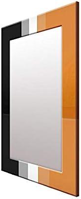 999Store Printed Black and Orange Strips Pattern Mirror