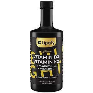 Lipofy® BRIGHT | 60 Tage Liposomales Vitamin D3 + K2, Magnesium & Vitamin C Immun | Made in Germany | Natürliches Aroma | 350ml | Hocheffektives, veganes Nahrungsergänzungsmittel