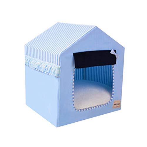 JEELINBORE Tragbar Faltbar Hundehaus Waschbar Katzen Hunde -Haus Bett Sofa (Himmel Blau, L: 58 * 46 * 63cm)