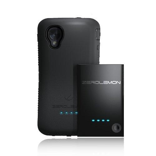 [180 Day Warranty] Zerolemon Lg Google Nexus 5 3500mah Extended Battery + Zeroshock Black/Black Dual Layer Rugged Case + Holster/Kickstand - World's Highest Capacity Nexus 5 Battery