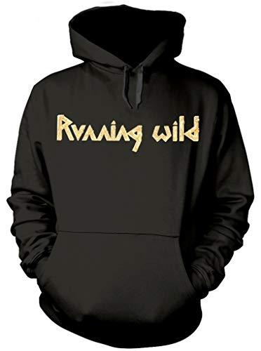 Running Wild  Under Jolly Roger Album  (Black) Pull Over Hoodie (Large)