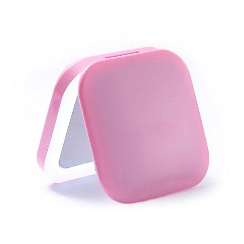 Miroir de Maquillage Cosmétique Miroir LED Portable Portable Miroir De Maquillage Rechargeable 3X Loupe pour Soins de La Peau Cosmétique Rasage Et Voyager (Couleur : Pink)