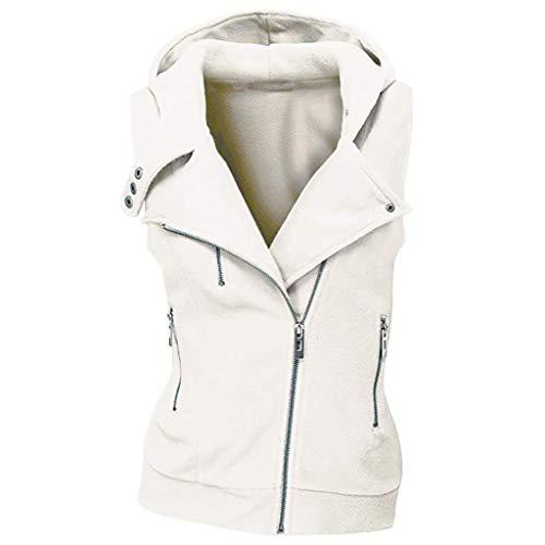 Dames Mouwloos Jack, Dames Zip Up Pockets Vest Gilet Jas voor Winter Vrouwelijke Slim Hooded Pockets Jas