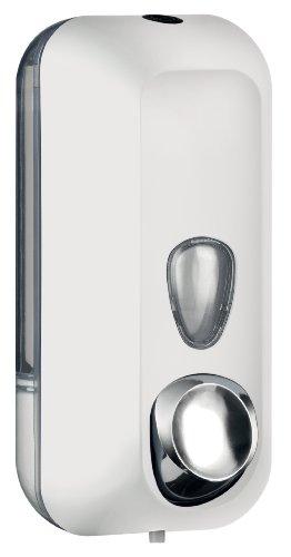 Distributeur Dispensateur dispenser de savon liquide coloré soft touch fixation murale (BLANC)