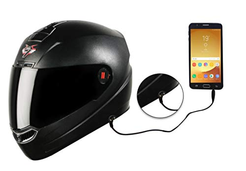 Steelbird SBA-1 7Wings HF Dashing ABS Material Shell Full Face Helmet Fitted with Clear Visor and Extra Smoke Visor and Detachable Hands-free Device (Regular Fit Large 600 mm, Dashing Black), ABS
