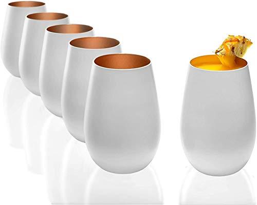 Stölzle Lausitz Becher 465 ml, 12er Set, Wassergläser in weiß (matt) und Bronze, spülmaschinenfest + Gratis 4er Set EKM Living Edelstahl Trinkhalme