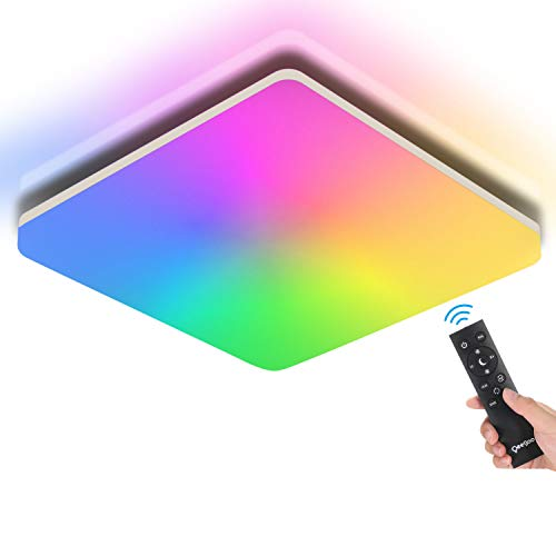 Oeegoo Plafón LED techo 24W 2400LM, RGB Lámpara de techo regulable con mando a distancia,3000K-4000K-6500K, IP54 LED lámpara Resistente al agua para Baño Dormitorio Salón Habitación Infantil Cocina