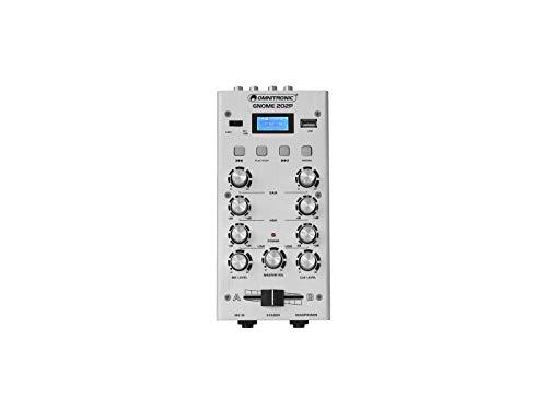 OMNITRONIC GNOME-202P Mini-Mixer silber | 2-Kanal-DJ-Mixer mit Bluetooth und MP3-Player im Miniaturformat | Regelbarer Mikrofoneingang/Kopfhörerausgang über 6,3-mm-Klinke