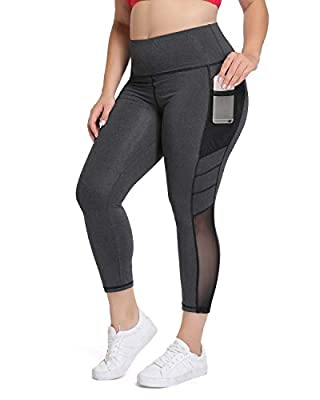 Joyshaper Plus Size Capri Workout Legging for Women High Waist Yoga Pants with Pockets Mesh Athletic Gym Tights
