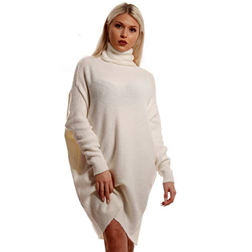 Damen Oversize Strickkleid Long Pullover mit Rollkragen und Fledermausärmel Longpullover XXL- Look Loose-Fit Herbst Winter Jumper Plus Size Sweater One Size (One Size, Wollweiß)