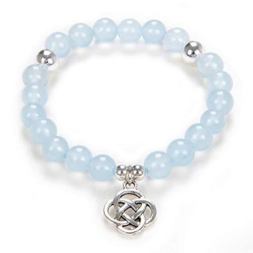 Yoga Beads Mala Bracelet Jewelry with Infinity Knot Celtic Charm for Men or Women (Aquamarine)