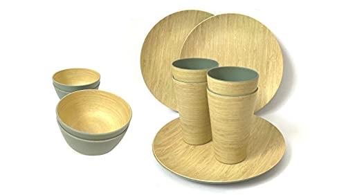 Juego de Vajilla de bambú 12 piezas Biodegradable y Libre de BPA. Para 4 Comensales. 4 Platos, 4 Cuencos de Ensalada, Fruta y 4 Vasos de Bebida. Eco-Friendly | Apto para Lavavajillas.