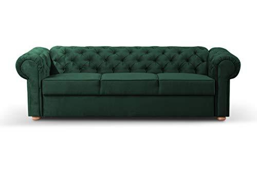 3-Sitzer 3er Chesterfield Sofa mit Schlaffunktion Schlafsofa Couch für Wohnzimmer Sofagarnitur Couchgarnitur Büro Wohnlandschaft Federkern Vintage Design Avia (Dunkelgrün)