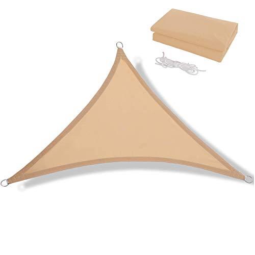 JJIIEE Vela de sombrilla Impermeable, Protector Solar para Fiestas en el jardín al Aire Libre, toldo Triangular con Bloque UV del 98% con Cuerda Libre,Sand,4 x 4 x 4m