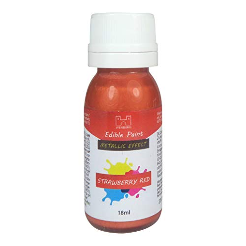 Wenburg Lebensmittelfarbe, metallic, 18ml. Farben zum Auftragen auf Fondant, Marzipan, Esspapier. Tortendekoration. Made in EU (Strawberry Red)