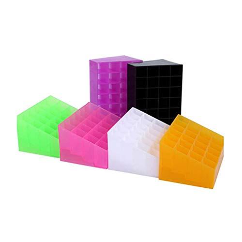 24 Grid Lipstick Holder Plastic Cosmetic Organizer Lipsticks Display Rack Portable Makeup Storage Box pink